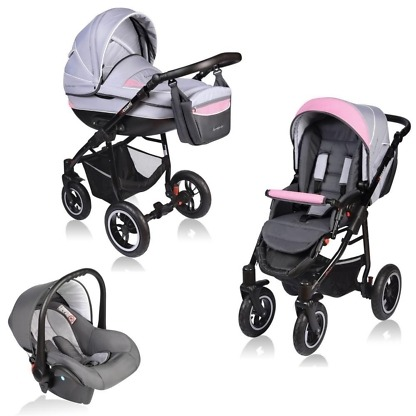 Carucior Crooner Vessanti 3 in 1 Pink - Gray