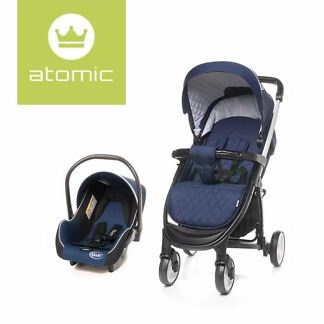 Carucior 2 in 1 4Baby ATOMIC Travel System Navy Blue