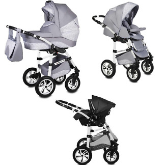 Carucior Flamingo Easy Drive Vessanti 3 in 1 Light Gray