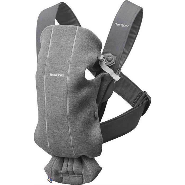 Marsupiu anatomic BabyBjorn Mini cu pozitii multiple de purtare - Dark Grey 3D Jersey