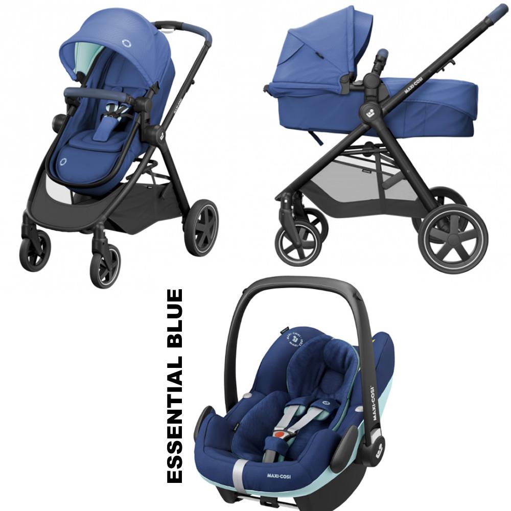 Pachet carucior Maxi-Cosi Zelia 3 in 1 Essential Blue Pro