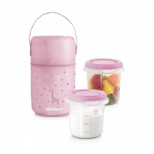 set 2 recipiente plastic 250 ml cu gentuta izoterma miniland rose