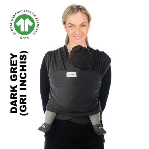 Sistem de purtare wrap elastic Babylonia Tricot Slen Organic Dark Grey