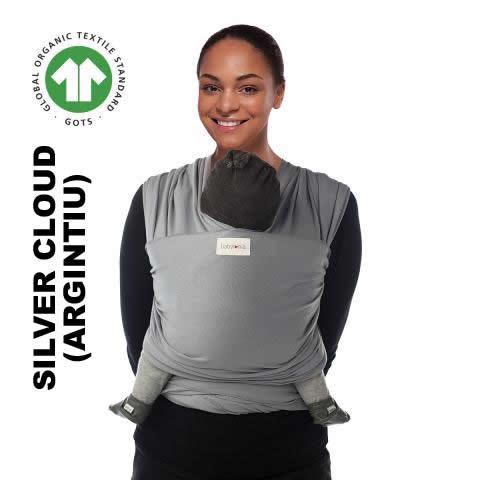 Sistem de purtare wrap elastic Babylonia Tricot Slen Organic Silver Cloud