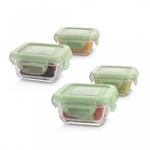 set 4 recipiente din sticla 160 ml ermetice chip miniland