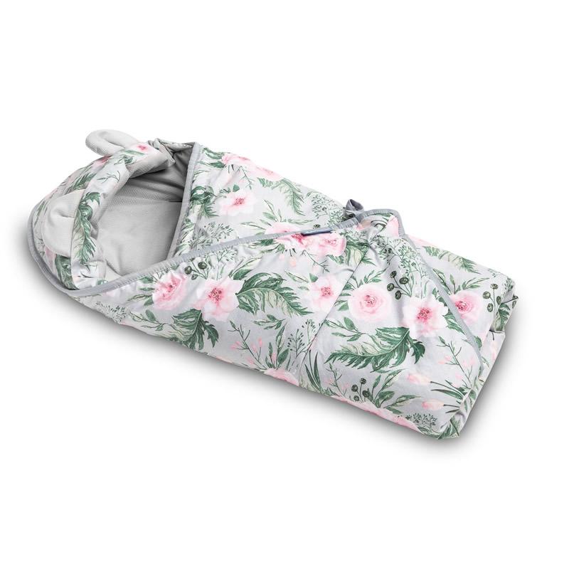 Paturica cu gluga pentru cos auto Sensillo VELVET grey flowers 1