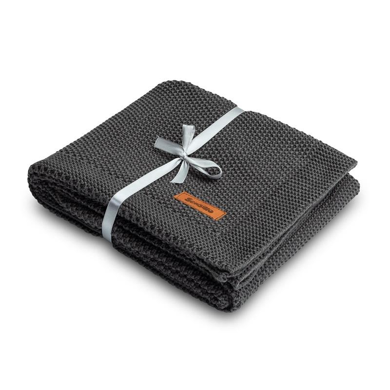 Paturica de bumbac tricotata Sensillo 100x80 cm GRAPHITE 1