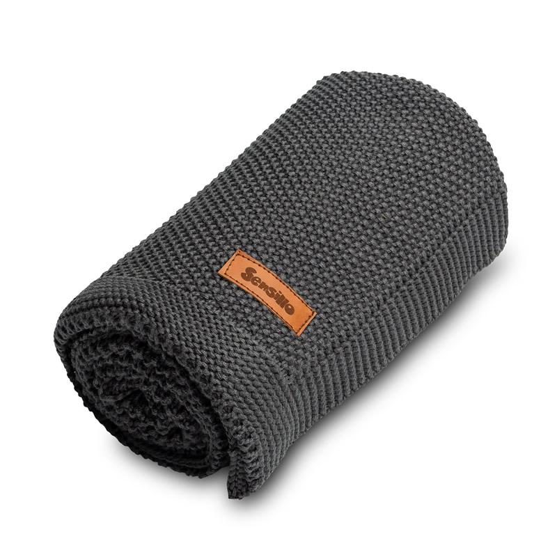 Paturica de bumbac tricotata Sensillo 100x80 cm GRAPHITE 2