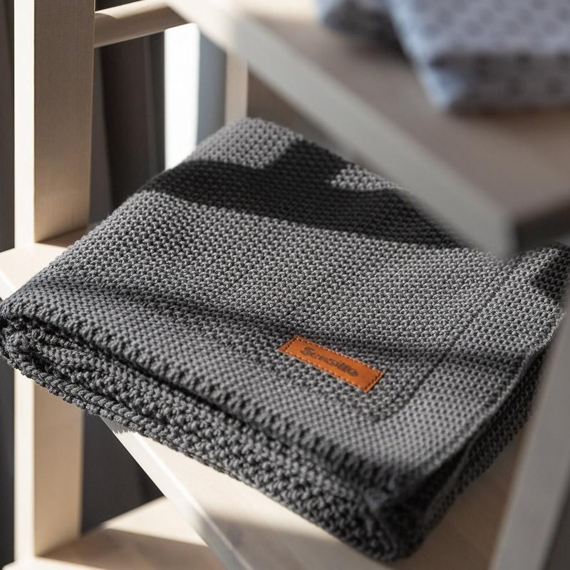 Paturica de bumbac tricotata Sensillo 100x80 cm GRAPHITE 4