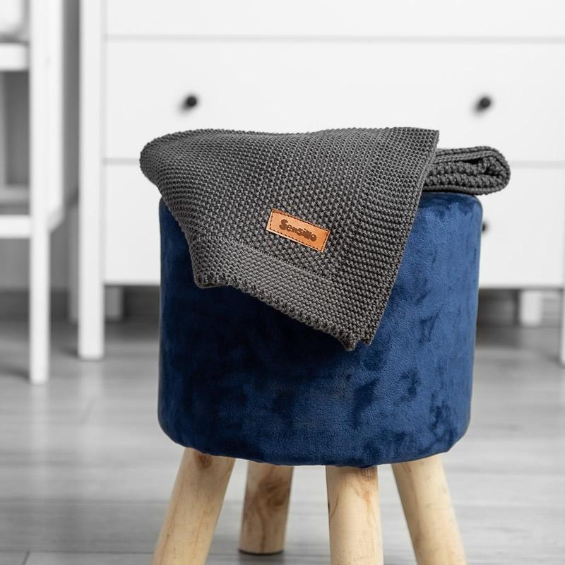 Paturica de bumbac tricotata Sensillo 100x80 cm GRAPHITE 5