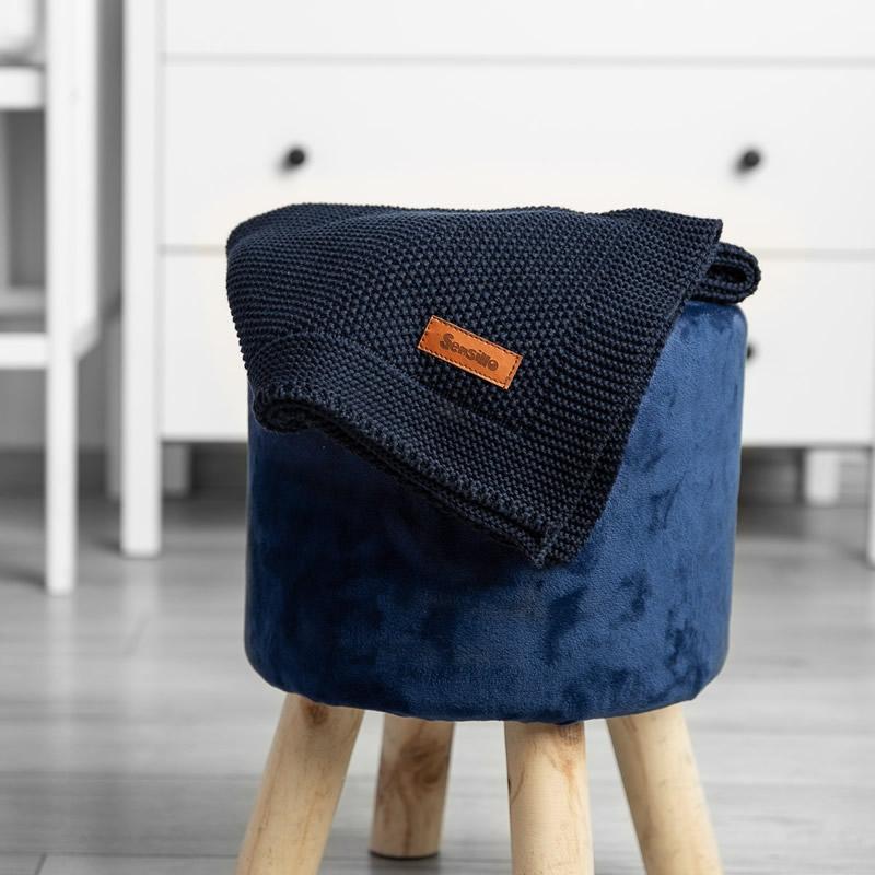 Paturica de bumbac tricotata Sensillo 100x80 cm navy 4