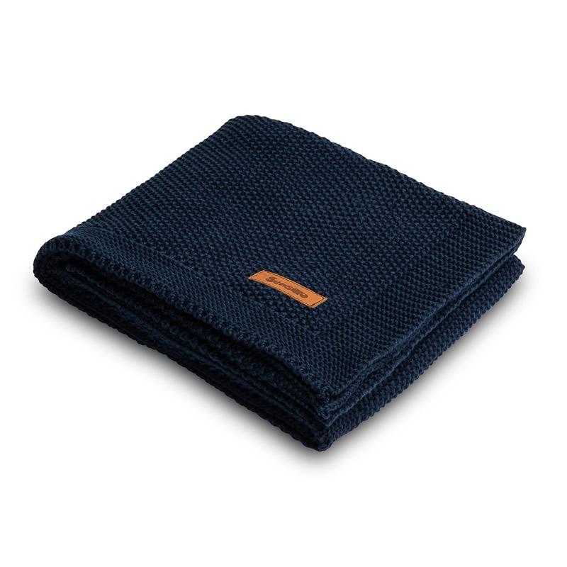 Paturica de bumbac tricotata Sensillo 100x80 cm navy