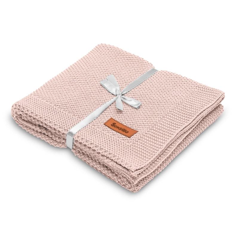 Paturica de bumbac tricotata Sensillo 100x80 cm roz 1