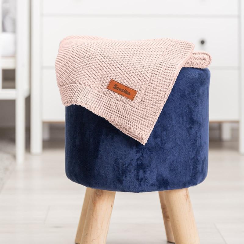 Paturica de bumbac tricotata Sensillo 100x80 cm roz 4
