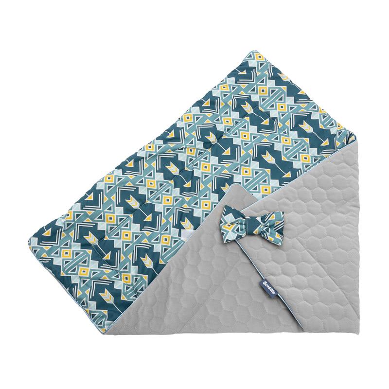 paturica de catifea pentru nou nascut sensillo velvet wrap 75x75 cm albastra 2