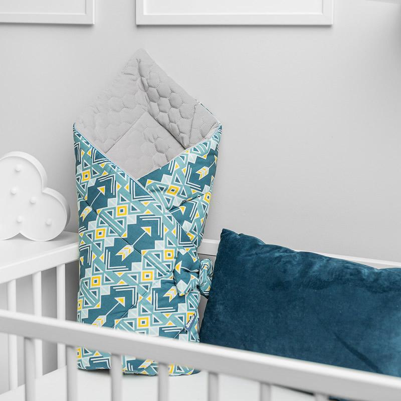 paturica de catifea pentru nou nascut sensillo velvet wrap 75x75 cm albastra 3