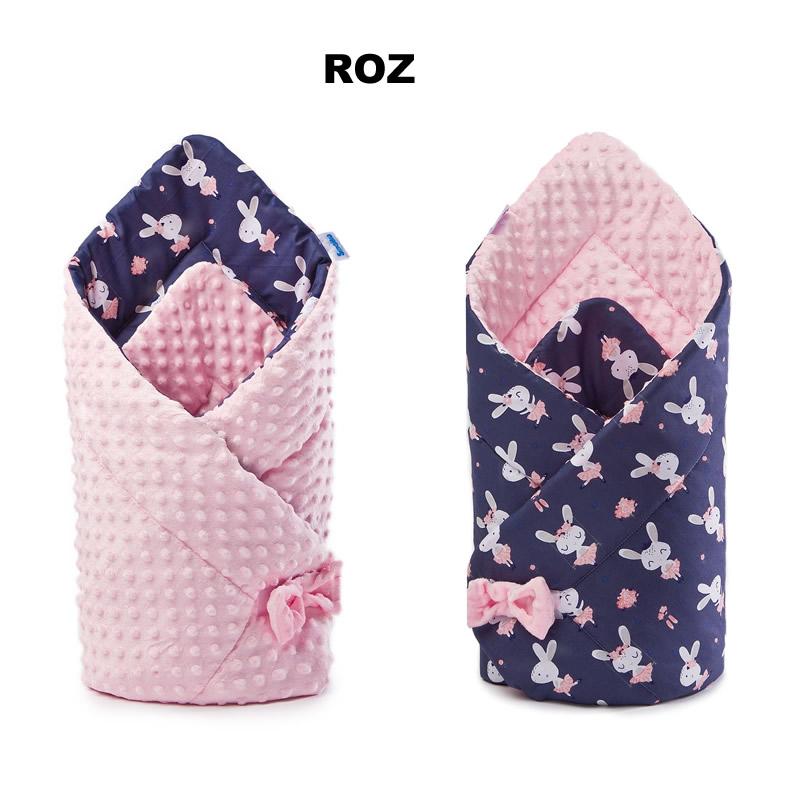 Paturica nou-nascut Sensillo Minky Wrap 80x80 cm Bunnies Pink