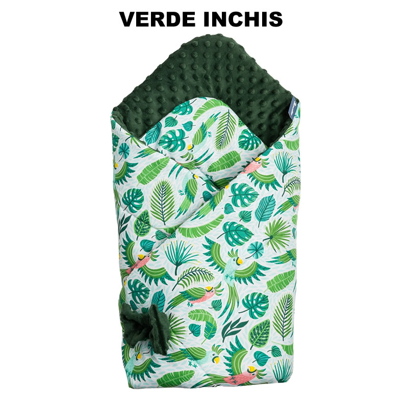 Paturica nou-nascut Sensillo Minky Wrap 80x80 cm Parrots Green