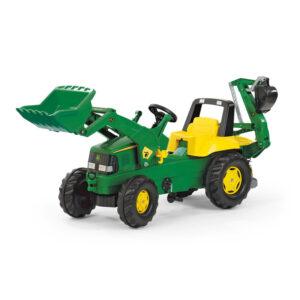 Buldoexcavator cu pedale Rolly Toys RollyJunior John Deere 3 8 ani