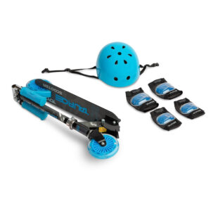 Scooter cu casca si cotiere si genunchiere Toyz TAURO blue 1