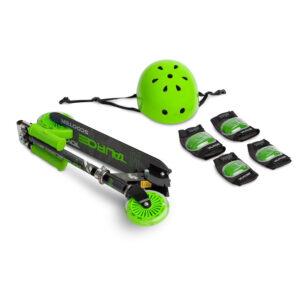Scooter cu casca si cotiere si genunchiere Toyz TAURO green 1