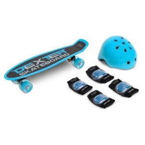 Skateboard cu casca si cotiere si genunchiere Toyz DEXTER albastru