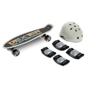Skateboard cu casca si cotiere si genunchiere Toyz DEXTER gri