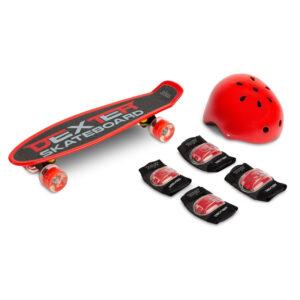 Skateboard cu casca si cotiere si genunchiere Toyz DEXTER rosu
