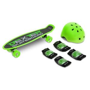 Skateboard cu casca si cotiere si genunchiere Toyz DEXTER verde