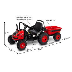 Tractor electric cu remorca si telecomanda Toyz HECTOR 12V rosu 1