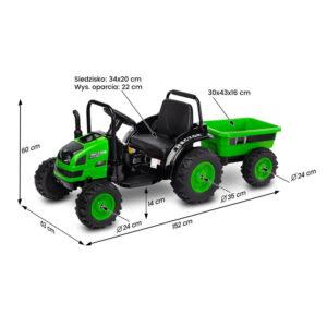 Tractor electric cu remorca si telecomanda Toyz HECTOR 12V verde 1