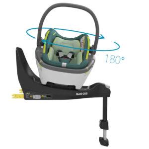 Pachet cos auto i-Size Maxi-Cosi Coral 360 cu baza FamilyFix 360 Neo Green