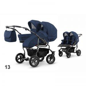 Carucior pentru doi copii Mikado GOLDSTAR 0-1 T01-10 albastru cadru grafit