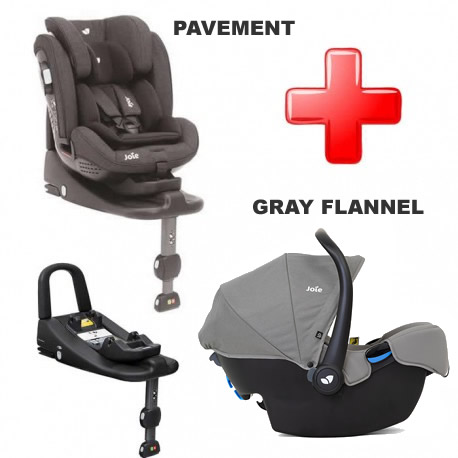 Pachet Joie Stages isofix si scoica Joie i-Snug Gray Flannel